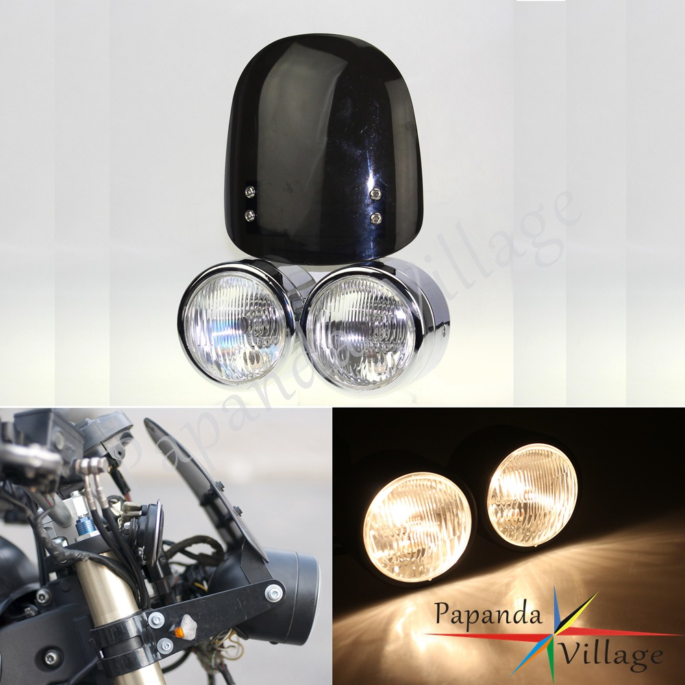 Universal Motorcycle <font><b>DirtBike</b></font> Twin <font><b>Headlight</b></font> Streetfighters Double Front Lamp For Harley Honda CRF150 CRF250 XRF450 CB600 KLX250 image