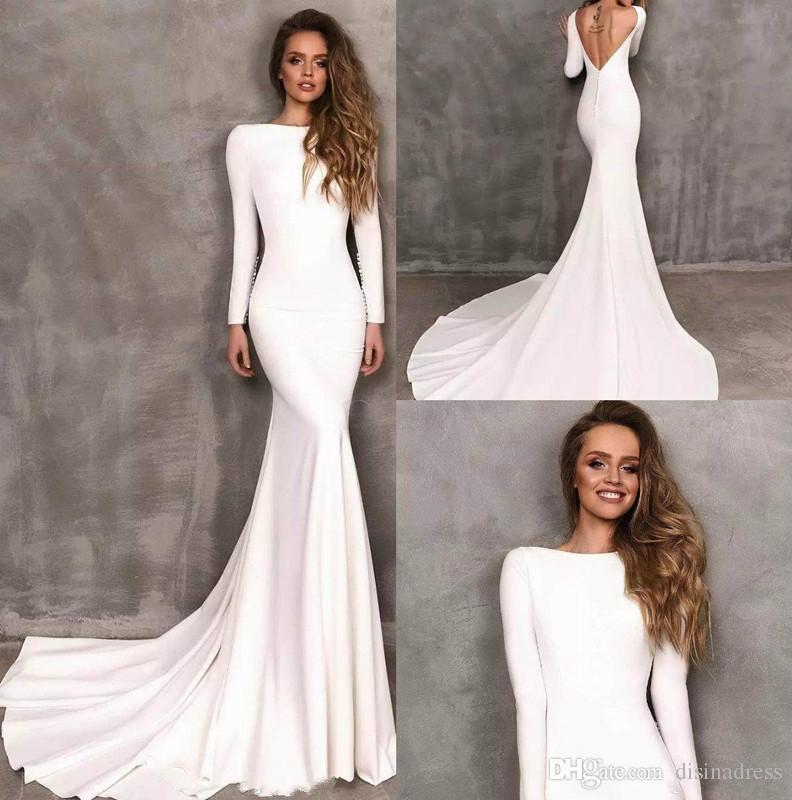 Robes de fiesta largos elegantes de gala 2019 Sexy manches longues Robe de soirée Robe de soirée blanc Stretch Satin robes de bal