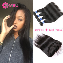 Ms Lula Hair with Frontal and Bundles 8A Virgin Malaysian Straight Hair 3 Bundles with Fontal Closure 13×4 Ear to Ear Closure