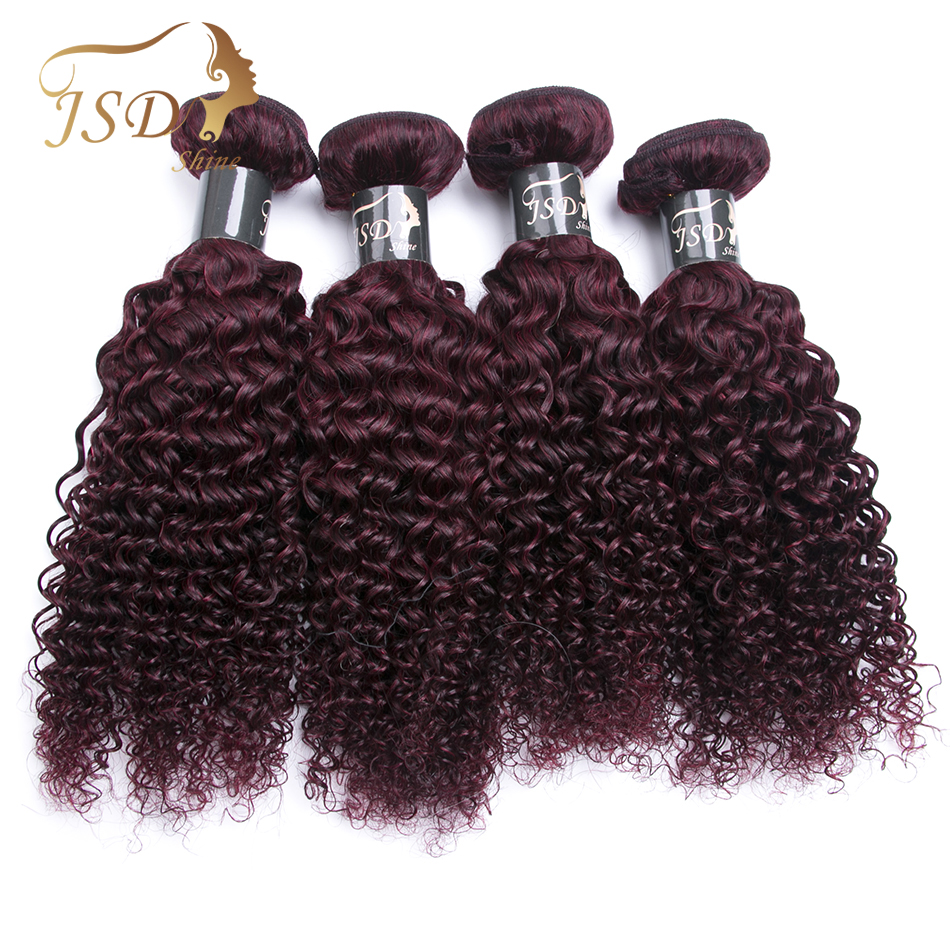 JSDShine Hair Brazilian Kinky Curly Human Hair 4PC Hair Weave Bundles 8 28inch 99J Red Color