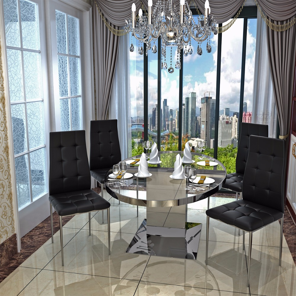 Black Dining Room Chairs With Chrome Legs Double Hanging Egg Chair Australia Faux Leather High Back Leg Button Tufted 4pcs Lot Dropshipping