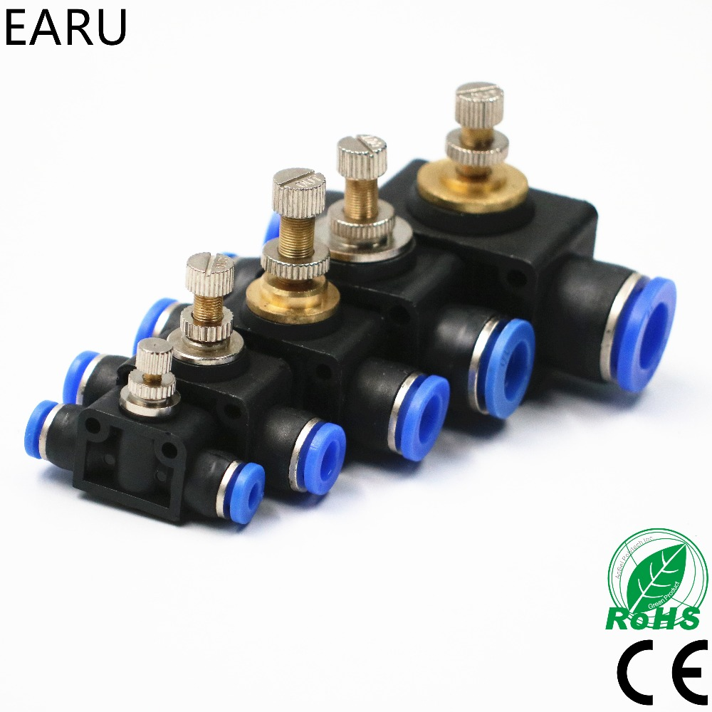 где купить Free shipping Throttle valve SA 4-12mm Air Flow Speed Control Valve Tube Water Hose Pneumatic Push In Fittings Connector Adapter дешево