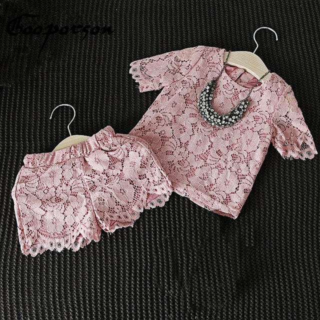 Girls Clothes Set New Fashion Floral Lace Pink T Shirt & Pants Shorts Casual Clothing Suit Baby Girl Outfits Children Clothes baby girl clothes set fashion blue jean shirt cotton white lace shorts 2pcs girls clothes kid summer suit set