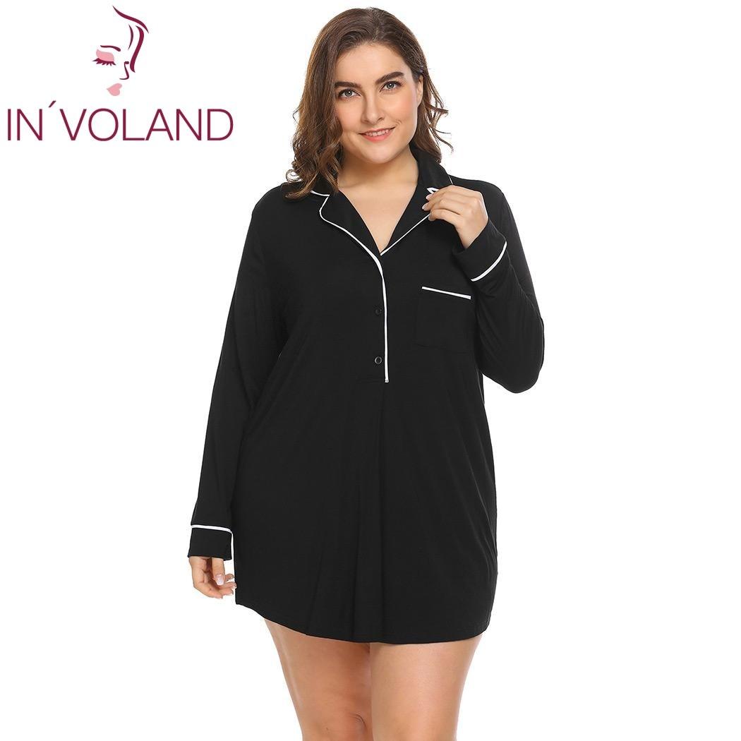 IN'VOLAND Large Size Women Sleepwear Dress XL-4XL Spring Autumn Soft Lapel Lingerie Button Big Nightgown Sleepshirt Plus Size