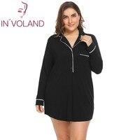 IN'VOLAND Large Size Women Sleepwear Dress XL 4XL Spring Autumn Soft Lapel Lingerie Button Big Nightgown Sleepshirt Plus Size