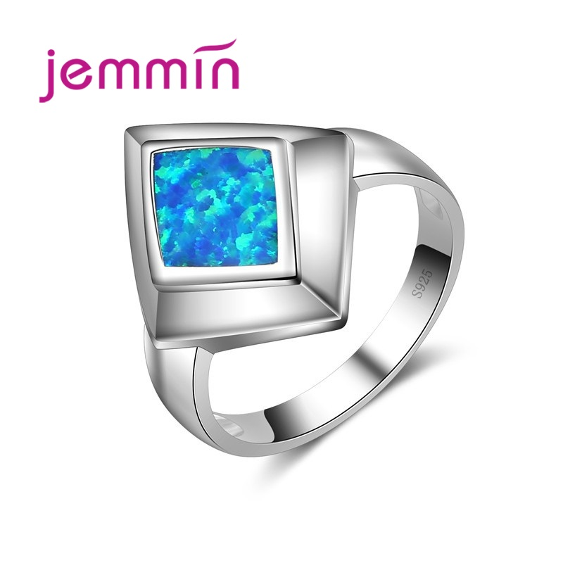 925 Sterling Silver Jewelry Ring With Charm Blue Fire Opal Rings Geometric Shaped For Women Wedding & Engagement Jewelry.