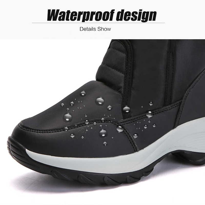 2027addff6e STQ 2019 Winter Women Snow Boots Platform rubber ankle boots women high  warm fur plush rain boots for women hiking boots 1618