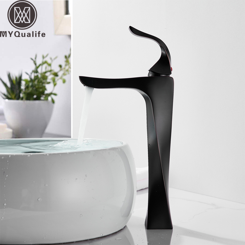 Modern Bathroom Black Basin Sink Faucet Deck Mounted Basin Vanity Sink Mixer Tap Single Handle Water Tap Creative Mixer Crane ceramic single handle bathroom vanity sink mixer tap chrome finished