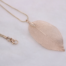 2018 new leaf necklace chic elegant hollow pendant gold silver rose gold adjustable sweater chain women's accessories