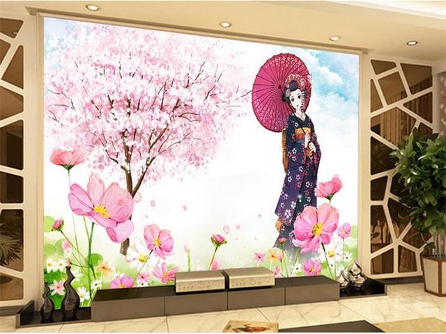 japanese background mural sofa living kimono flower painting 3d custom tv zoom woven sticker non mouse