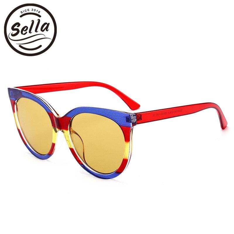 Sella 2018 nueva llegada transparente color caramelo raya Marcos moda mujer cateye Gafas de sol diseñador de marca de lujo Sol Gafas