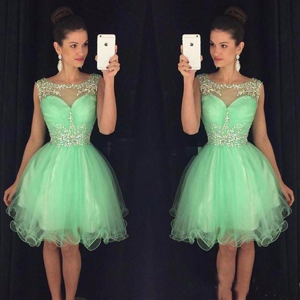 2019 Mini Short Cocktail Dresses Crystal Beaded Sweet 16 Graduation Dresses Little Chiffon Short Prom Party Dress