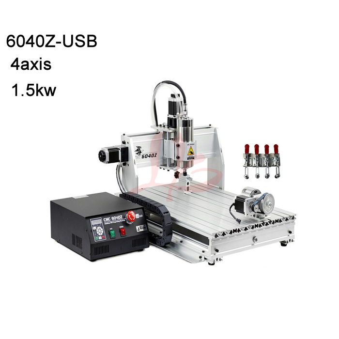4axis 6040 cnc engraving machine cnc router with 1.5KW VFD water cooling spindle mach3 control USB port for metal,aluminum etc купить