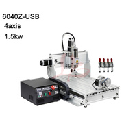 4axis 6040 cnc engraving machine cnc router with 1.5KW VFD water cooling spindle mach3 control USB port for metal,aluminum etc