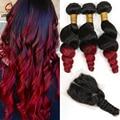 Nuevo 4 Bundles peruano onda floja con cierre, Red Ombre extensión del pelo 3 unids con 1 unids encierro del cordón peruano Luvin productos para el cabello