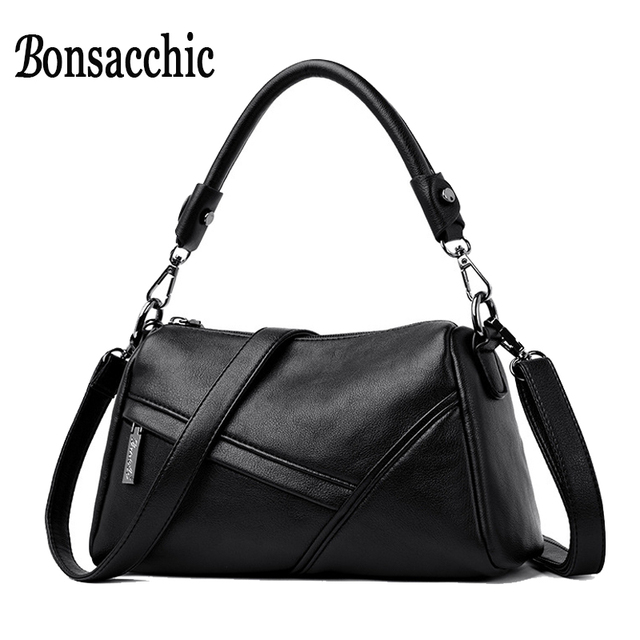 006d526bdd39 Bonsacchic PU Leather Women s Shoulder Bag Small Black Female Bags Handbags  Luxury Designer Cross Body Bags Over the Shoulder