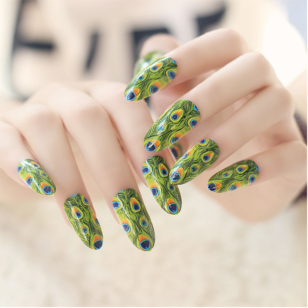 24 teilesatz mode pfau leopard muster falsche ngel frauen finger volle deckung lange geflschter nagel kunst - Kunstnagel Muster