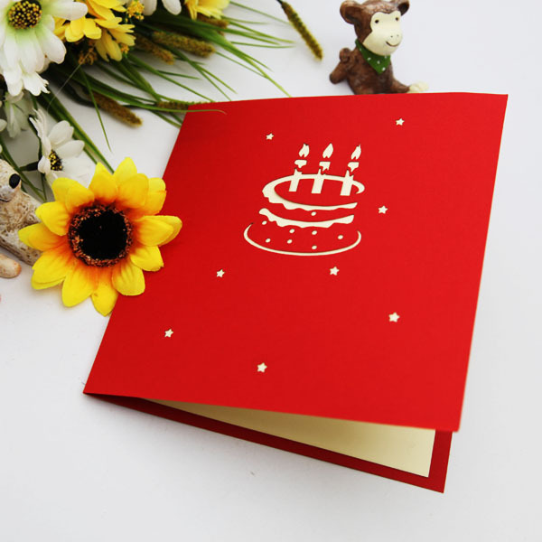Red Candle Cake Birthday Cards Creative Gift Ideas Paper Edge Lines