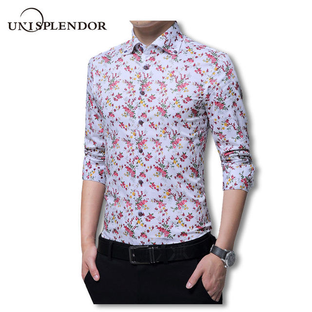990959987f0e 2019 New Arrival Men Floral Printed Casual Vacation Style Mens Shirts Cool  Cotton Slim Male Shirts Long Sleeve Man Shirt YN10188