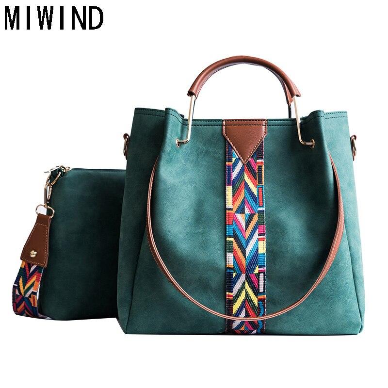 MIWIND Women Scrub Handbags Vintage Messenger Bag Large Retro Colorful Strap Shoulder Bag TYX1201 miwind 100