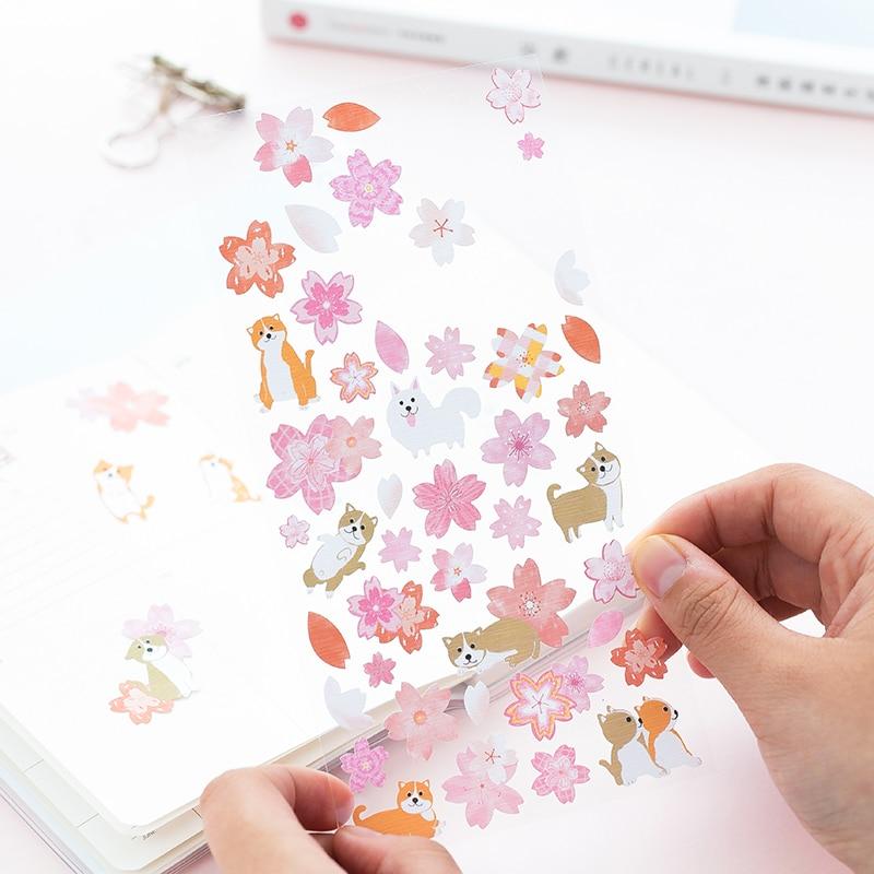 6 Style Japanese Romantic Sakura Cute Shiba Decorative Stationery Stickers Scrapbooking Diy Diary Album Sticker