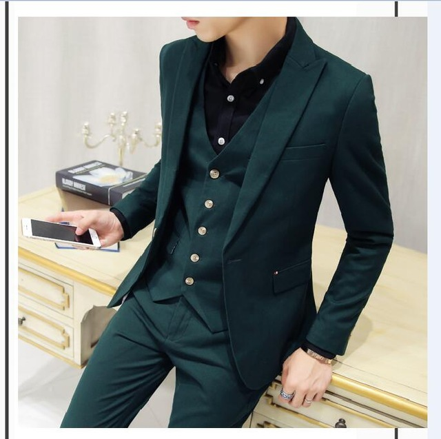 2018 Latest Coat Pant Designs Dark Green Men Suit Groom Tuxedo Slim