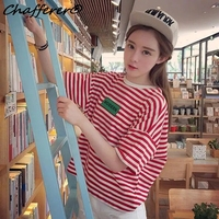 Black Red Loose Striped Short Sleeved T Shirt Women Summer Casual Round Neck Crop Tops College