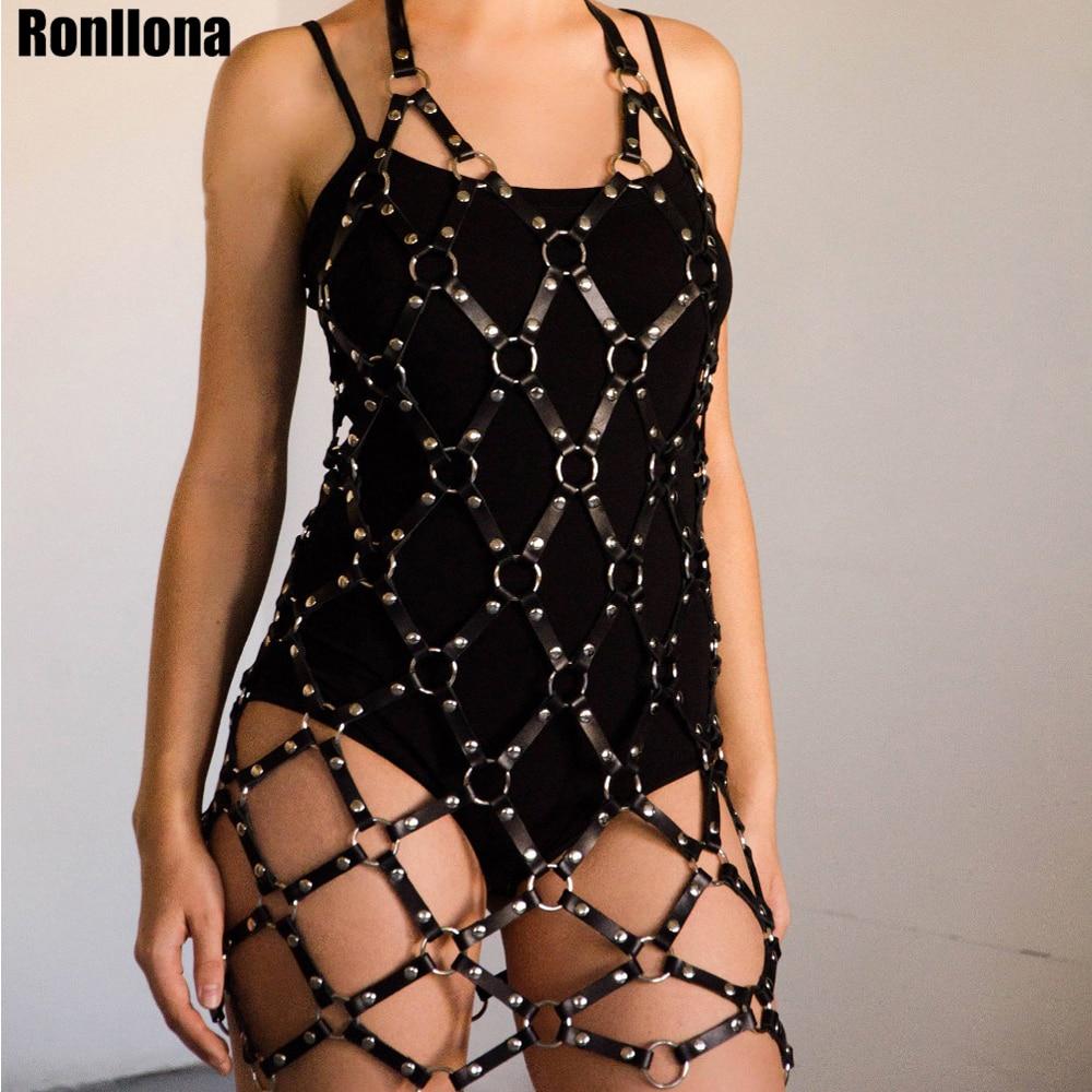 Women/'s Leather Harness Dress BDSM Bondage Cage Skirt Fetish Suspender Goth Belt