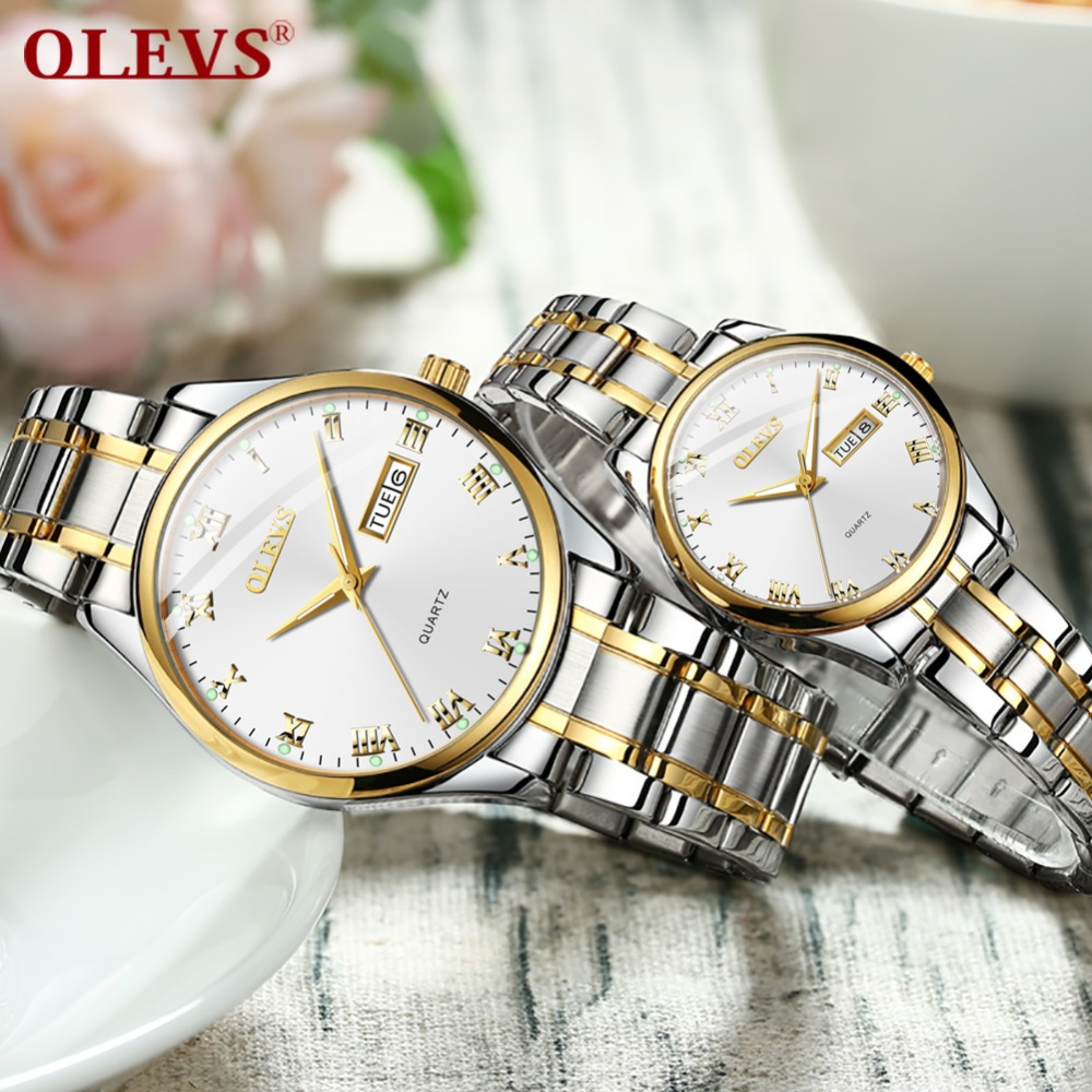 Couple Watches For Lovers Luxury OLEVS Brand Quartz Wrist Watch Fashion Swim Waterproof Men Women Wristwatches Erkek Kol Saati