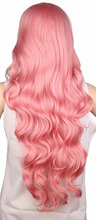 Long Curly Pink Bimbo Wig 70 Cm Synthetic Hair