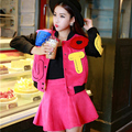 Free Shipping Lovely Pink Long-sleeve Sweater Jacket Cute Casual Skirt Suits Women Sweet Top And Skirts Sets Women's 2pcs Set