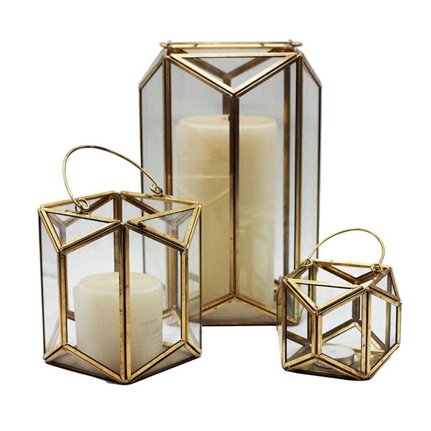 S//M//L 3 Sizes Geometric Glass Metal Candlestick Candles Wind Lantern Light Decor