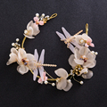 multicolor bridal tiara dragonfly flower wedding baroque crown pearl bride headdress tiaras hair accessories