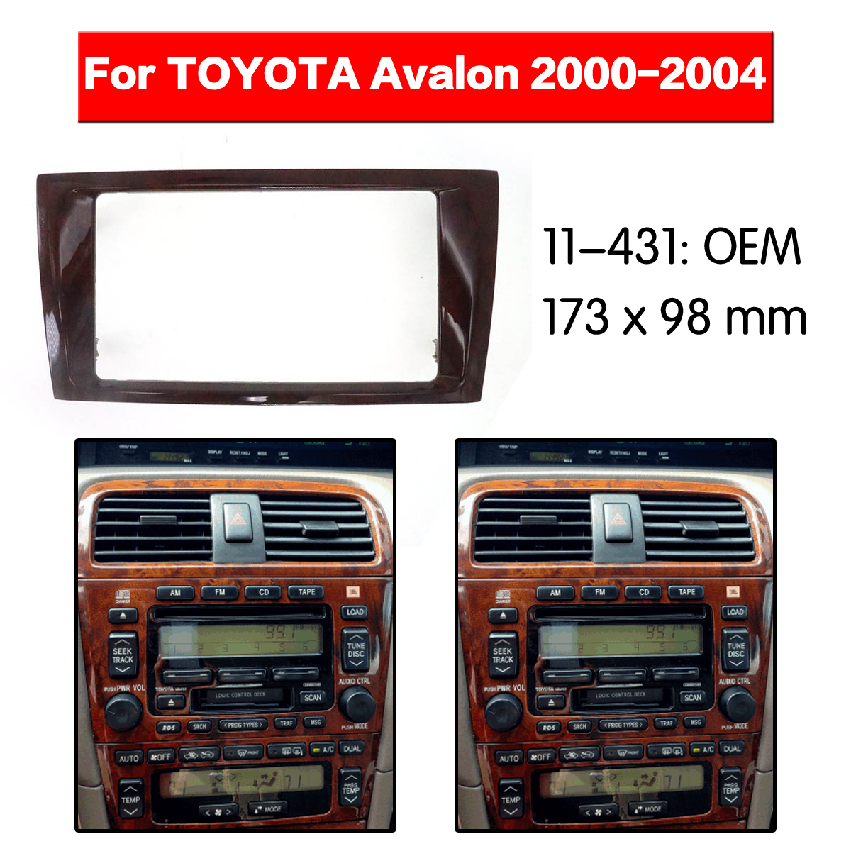 2 DIN Car Radio stereo Fitting installation adapter fascia For TOYOTA Avalon 2000 2001 2002 2003