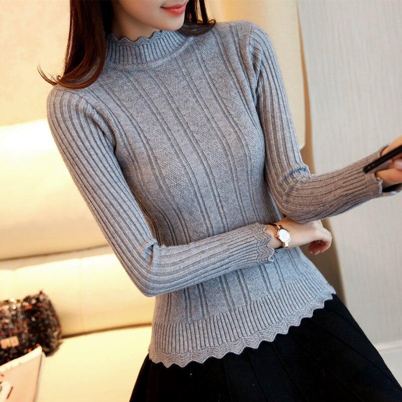 OHCLOTHIN 2017 nouvelle Mode demi femmes Coréennes tricoté chandail mince pétale col chemise Élastique Creux Col Roulé Twist Pull