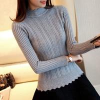 33 New Winter Half Korean Women S Knitted Sweater Slim Petal Collar Shirt F1356