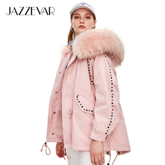 JAZZEVAR 2019 New Winter High Fashion Street Womens Real Fur Military Parka Oversized Hooded Coat Rivet Jacket Loose Clothing