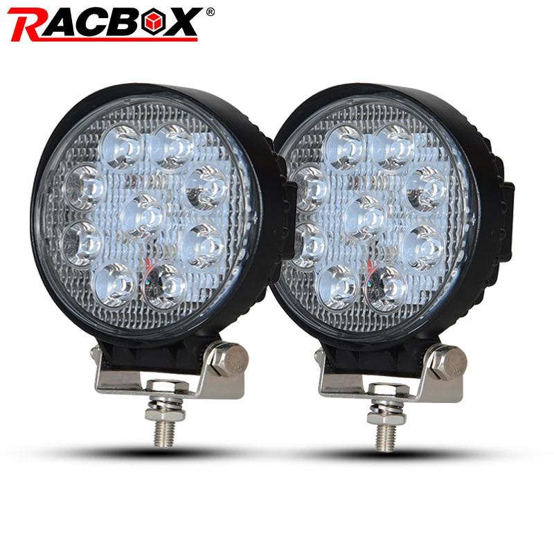 Racbox 2 шт. 4 дюймов 27 Вт круглый светодиодный свет работы 6000 К 12 В 24 В для мотоциклов Boat автомобиль трактор 4x4 внедорожник ATV LED Рабочая дальнего