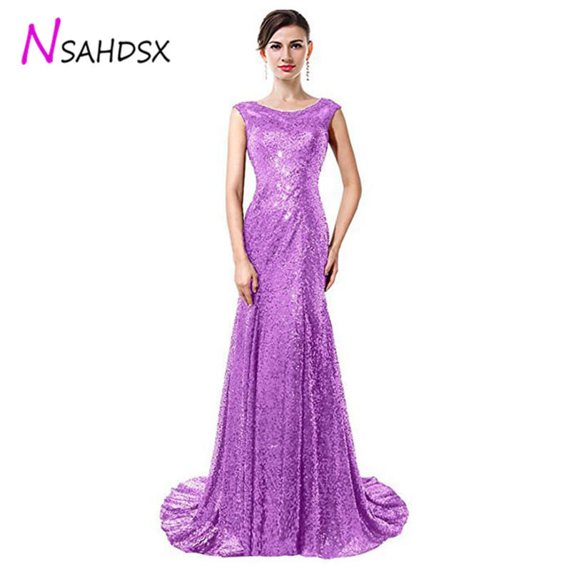 2019 dress Banquet Evening Dinner Dress Long Paragraph Sequins Women Elegant Host O Neck Twilight Moment
