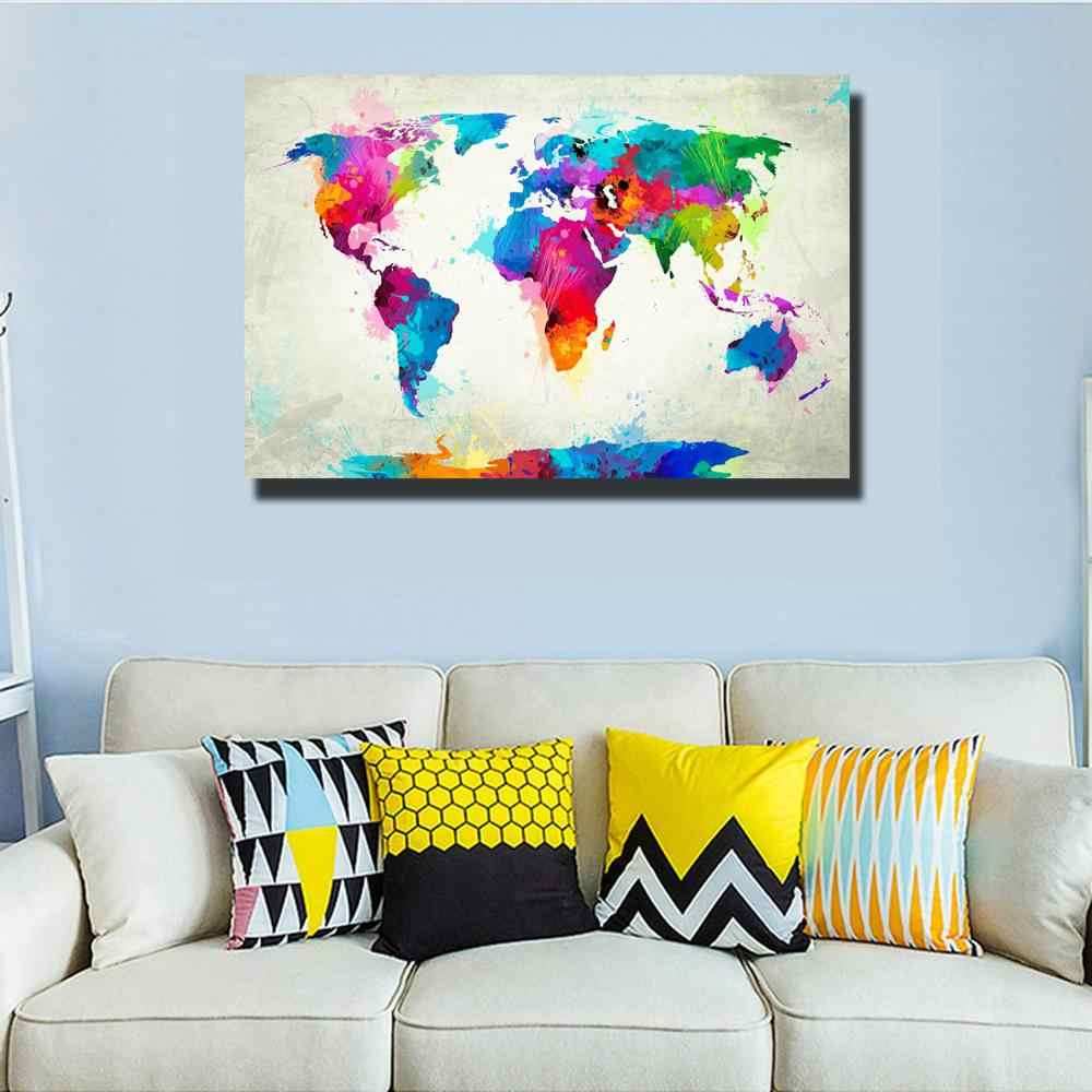 Watercolor World Map Modular Painting Posters and Prints on Canvas Scandinavian Cuadros Wall Art Picture For Living Room