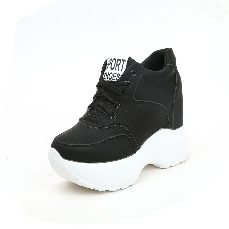 Spring 12CM Heels Wedges Breathable Woman Height Increased Shoes Autumn Women Sneakers Mesh Casual Platform Trainers White Shoes