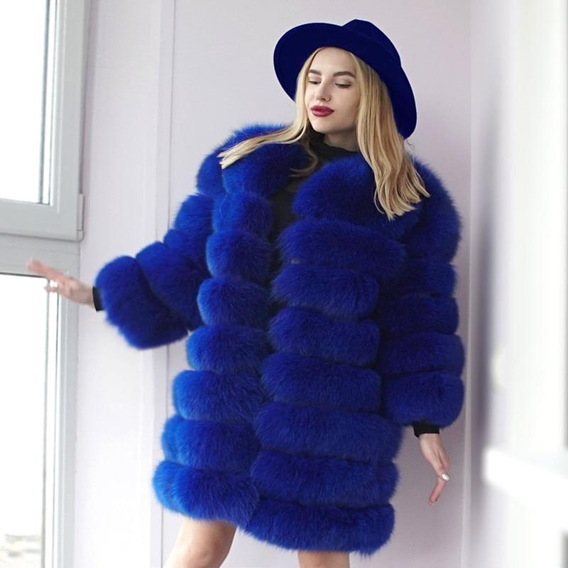Natural fox fur coat long removable denim vest