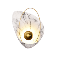Post modern Designer Full Copper Resin Wall lamps imitation marble texture Living room Bedroom Led wall mounted lighting fixture