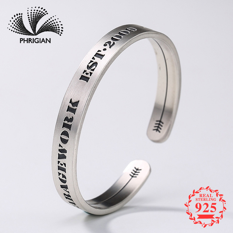 S990 Fine Jewelry Bangle Solid sterling silver women open adjustable vintage retro S925 925 New York NYC Handmade EngraveS990 Fine Jewelry Bangle Solid sterling silver women open adjustable vintage retro S925 925 New York NYC Handmade Engrave