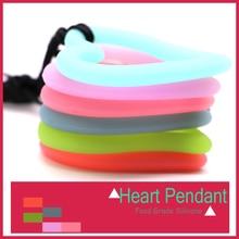 Mydear hartvorm siliconen bijtring hanger ketting mode siliconen baby bijtring voor tandheelkundige zorg sieraden diy 10 stks / partij