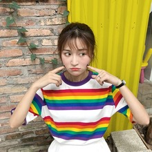 Streetwear Rainbow Color Stripes Women T-shirt Casual Summer Half Sleeve Loose Striped T Shirt Tee Top