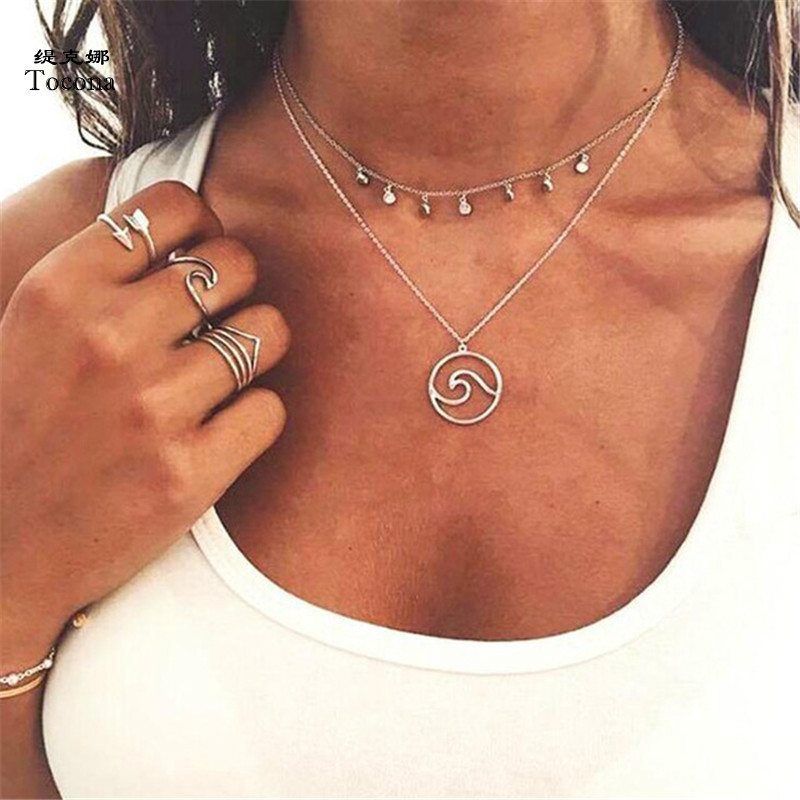 Tocona Bohemian Wave Pendant Chokers Necklaces Silver Sequins Multi Layer Necklace Collar For Women Jewelry Accessories 3906