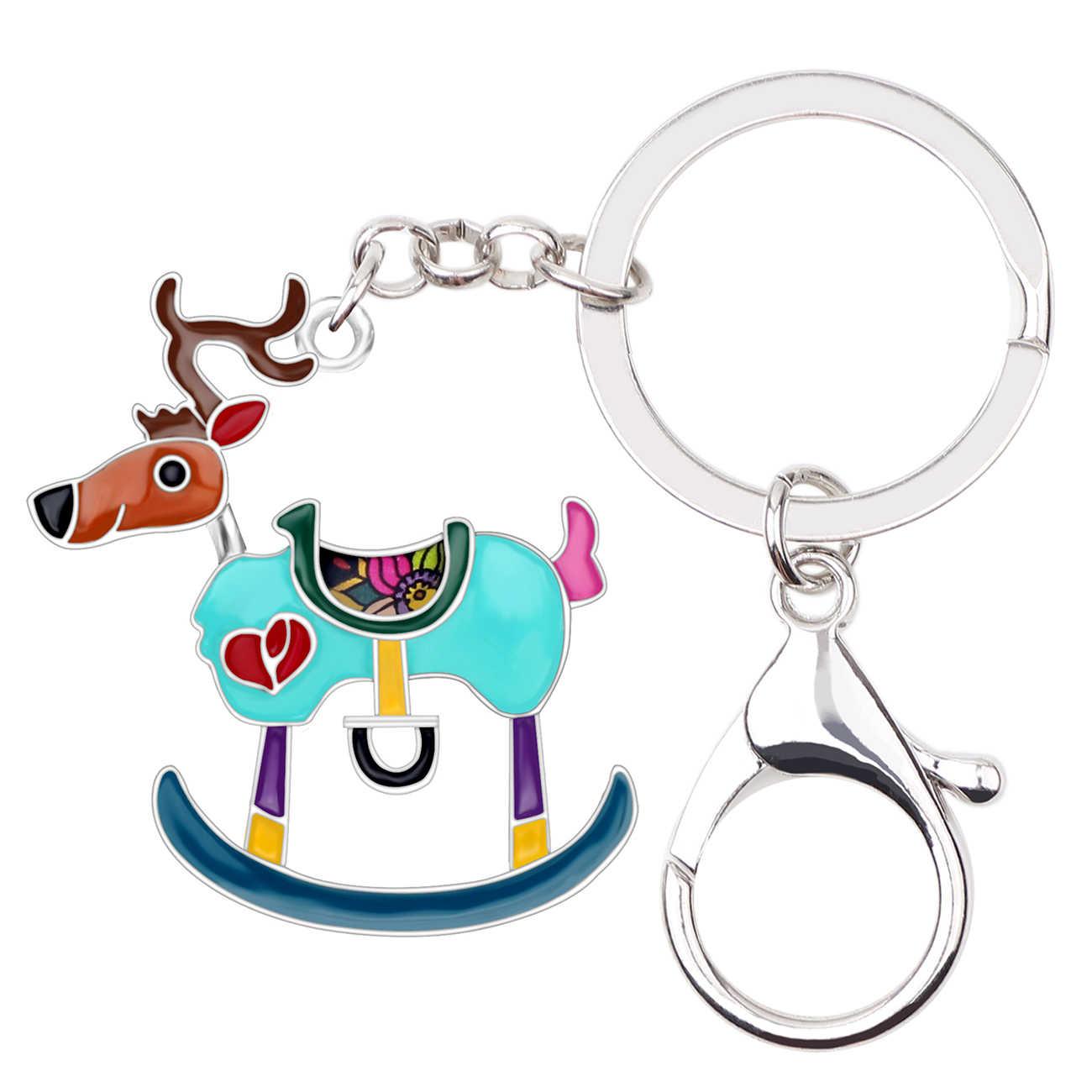 Bonsny эмалированный сплав Рождественский олень Олень брелок кольцо новинка украшения для женщин девочек подростков сумка автомобиль кулон подарки
