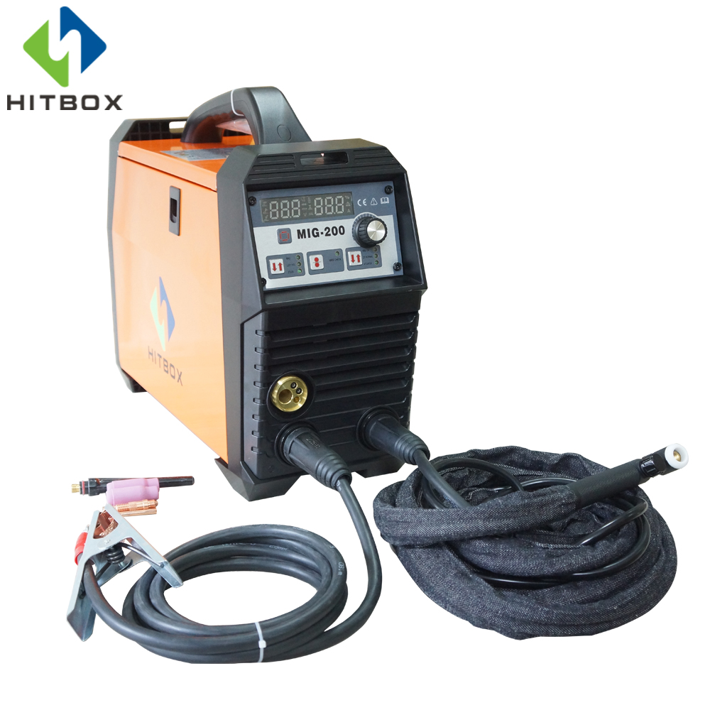HITBOX Newest Gas Welding Machine MIG200A MIG LIFT TIG MMA Function Single Phase 220V With Accessories 220v single phase igbt co2 mig welding machine nb 250e