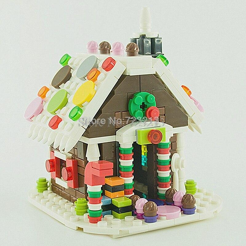 Gingerbread House MOC Building Christmas Scene Block Kids Model Set Handmade Bricks Gift Toys for Children
